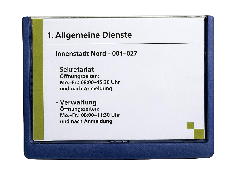 DURABLE 486607 - Click Sign, targa fuori porta in ABS, sportellino apribile con tasto, installazione con viti o biadesivo, 210x148,5 mm, blu 9486607