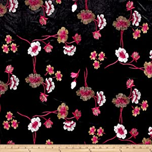 TELIO Bouquet Knit Velvet Floral Embroidered Black/Red Fabric by The Yard