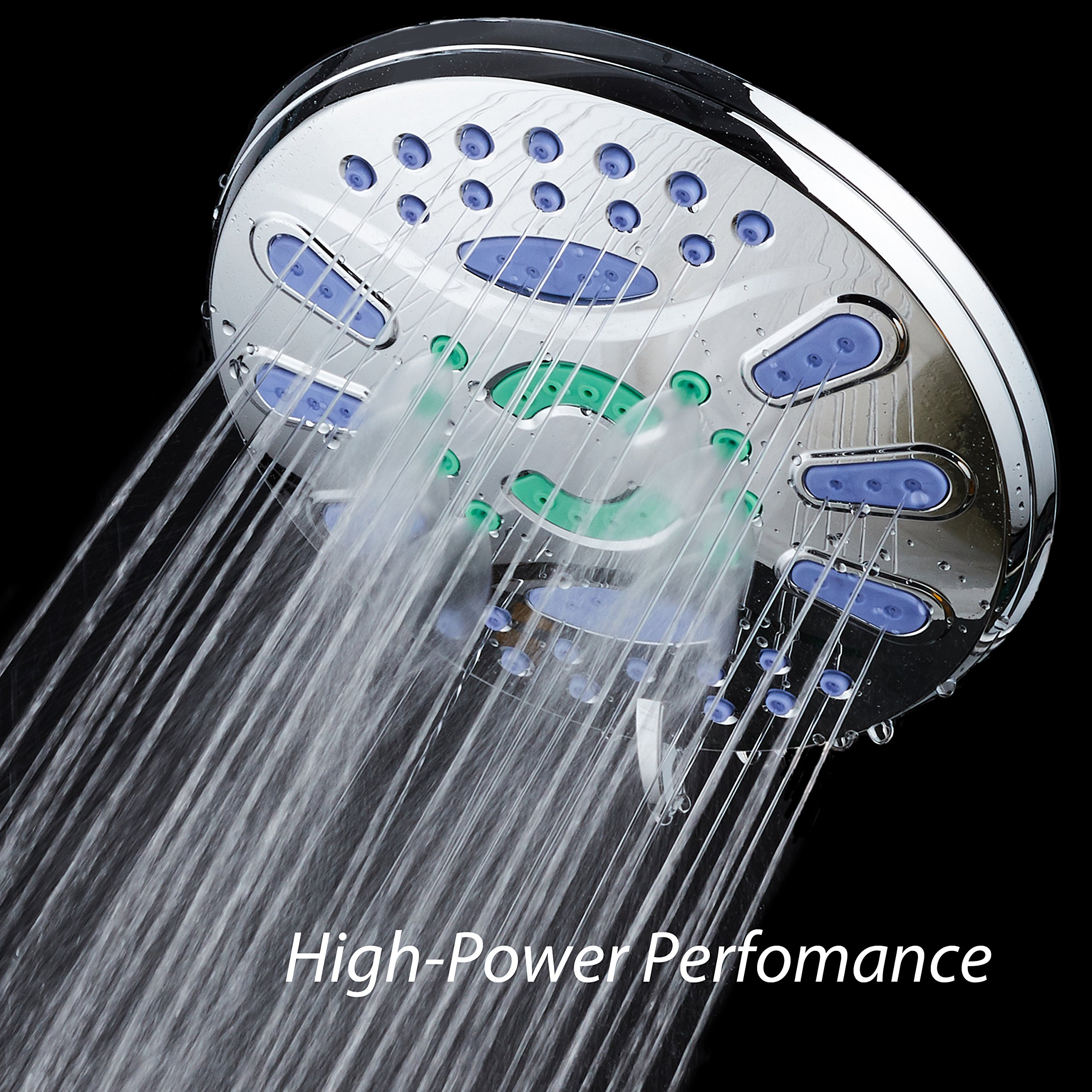 AquaStar Elite High-Pressure 7'' Giant 6-setting Luxury Spa Rain Shower Head with Microban Antimicrobial Anti-Clog Jets for More Power & Less Cleaning! / Solid Brass Ball Join/All Chrome Finish by AquaStar (Image #5)
