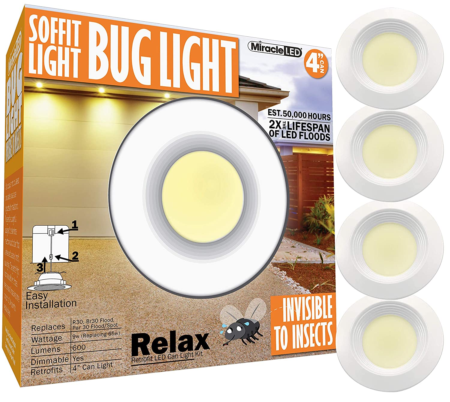 MiracleLED 602050 4-Inch Bug Light Amber