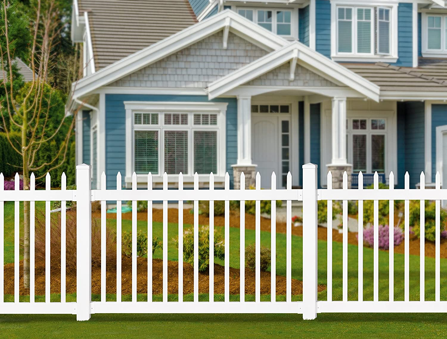 Beautiful Amazon.com : WamBam No Dig BL19101 No Dig Permanent Nantucket Picket Vinyl  Fence W/Post U0026 No Dig Steel Pipe Anchor Kit, 4u0027 X 6u0027, White : Garden U0026  Outdoor