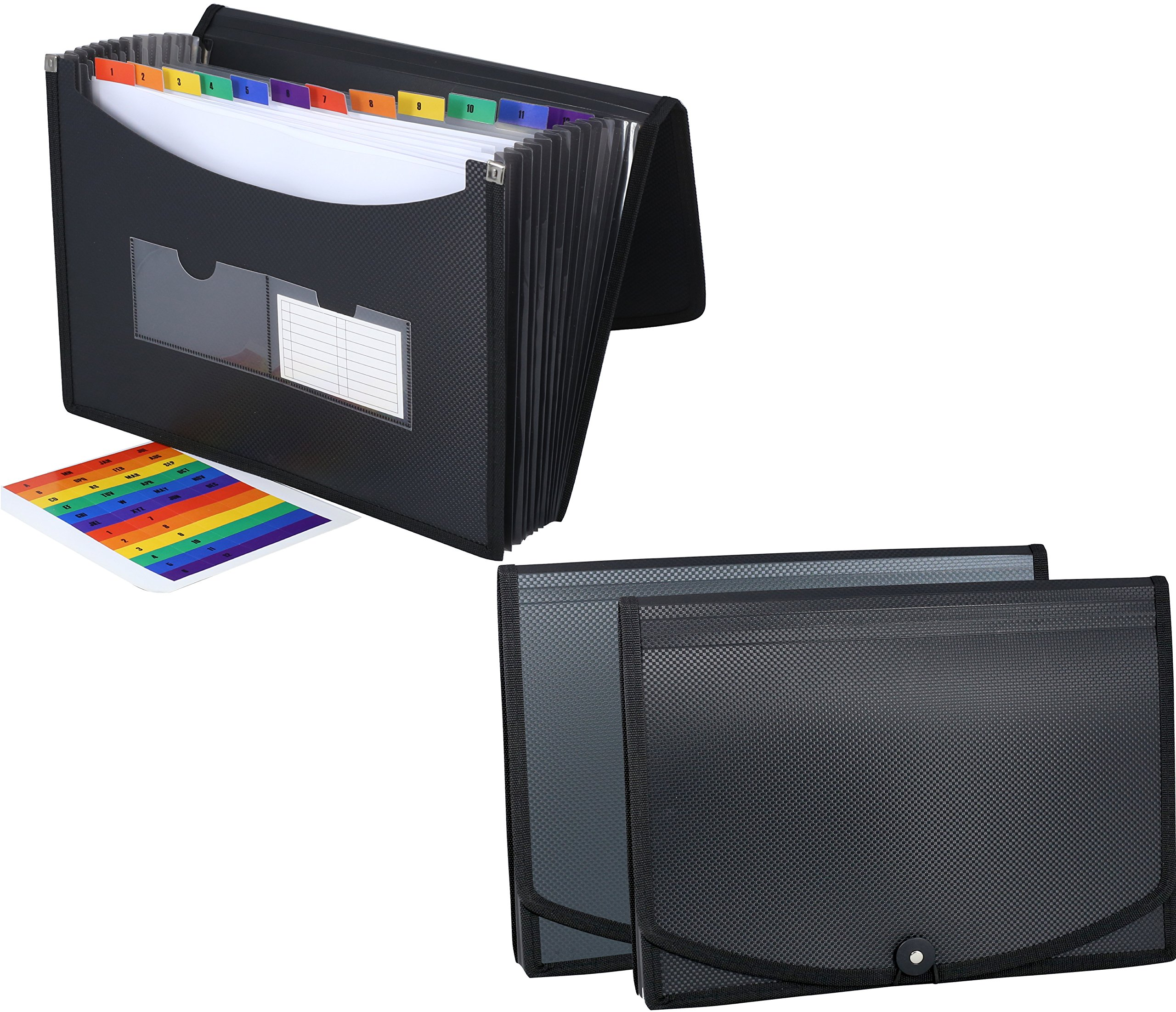 DecoBros 2 Pack Poly Frequency Expanding 13 Pockets File Folder, Letter Size, Black / Gray