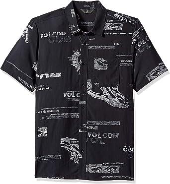 Volcom Hombre A0431800 Manga corta Camisa de botones - Negro ...