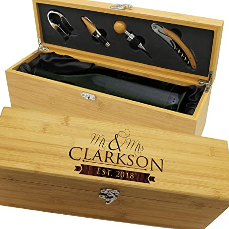 Personalized Wood Wine Box Anniversary Ceremony Couples Wedding Wine Gift Box Holder Custom Engraved For Free Bamboo