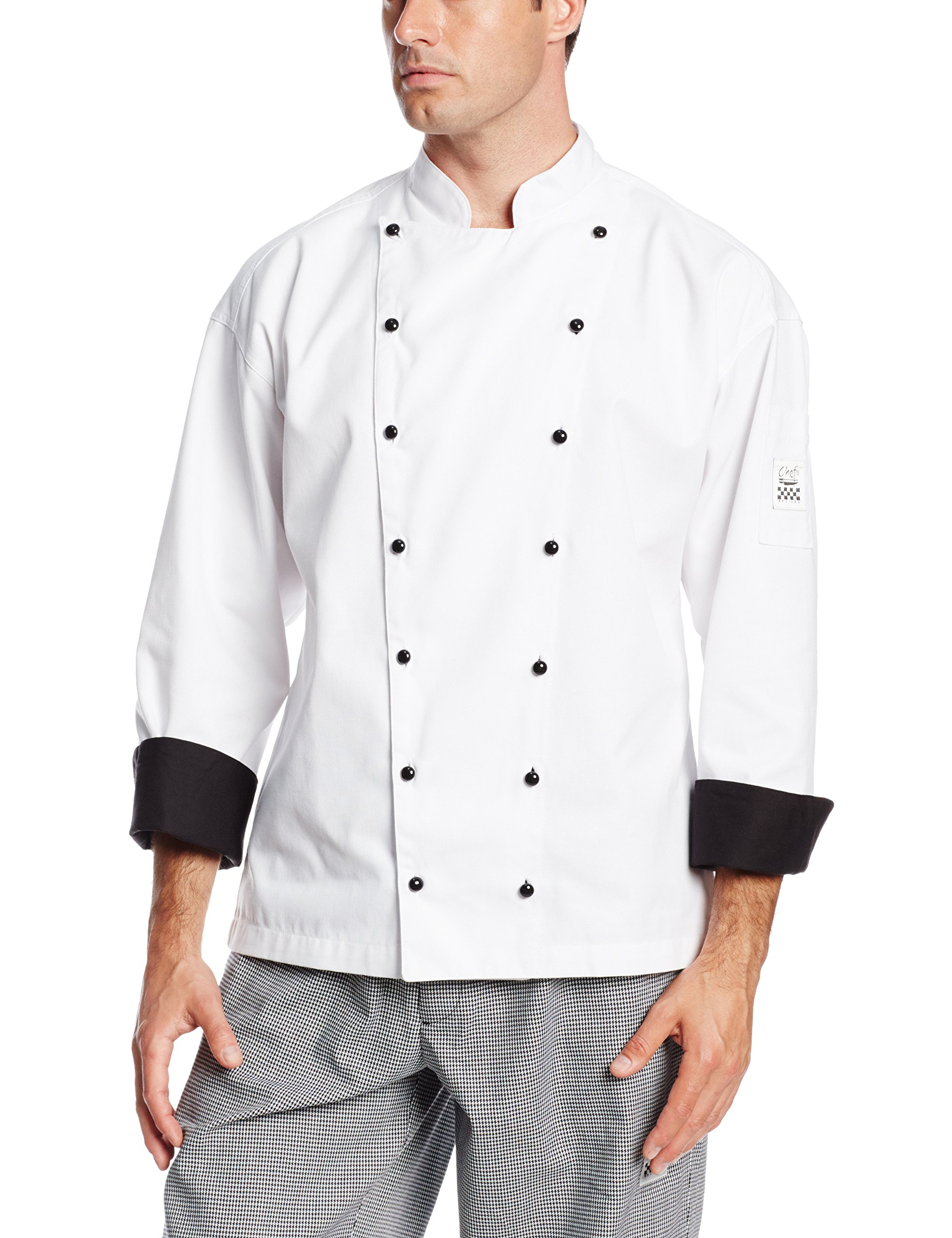 Chef Revival J013 Chef-Tex Poly Cotton Executive Long Sleeve Jacket with Black Cuff and Push Through Button, 4X-Large, White
