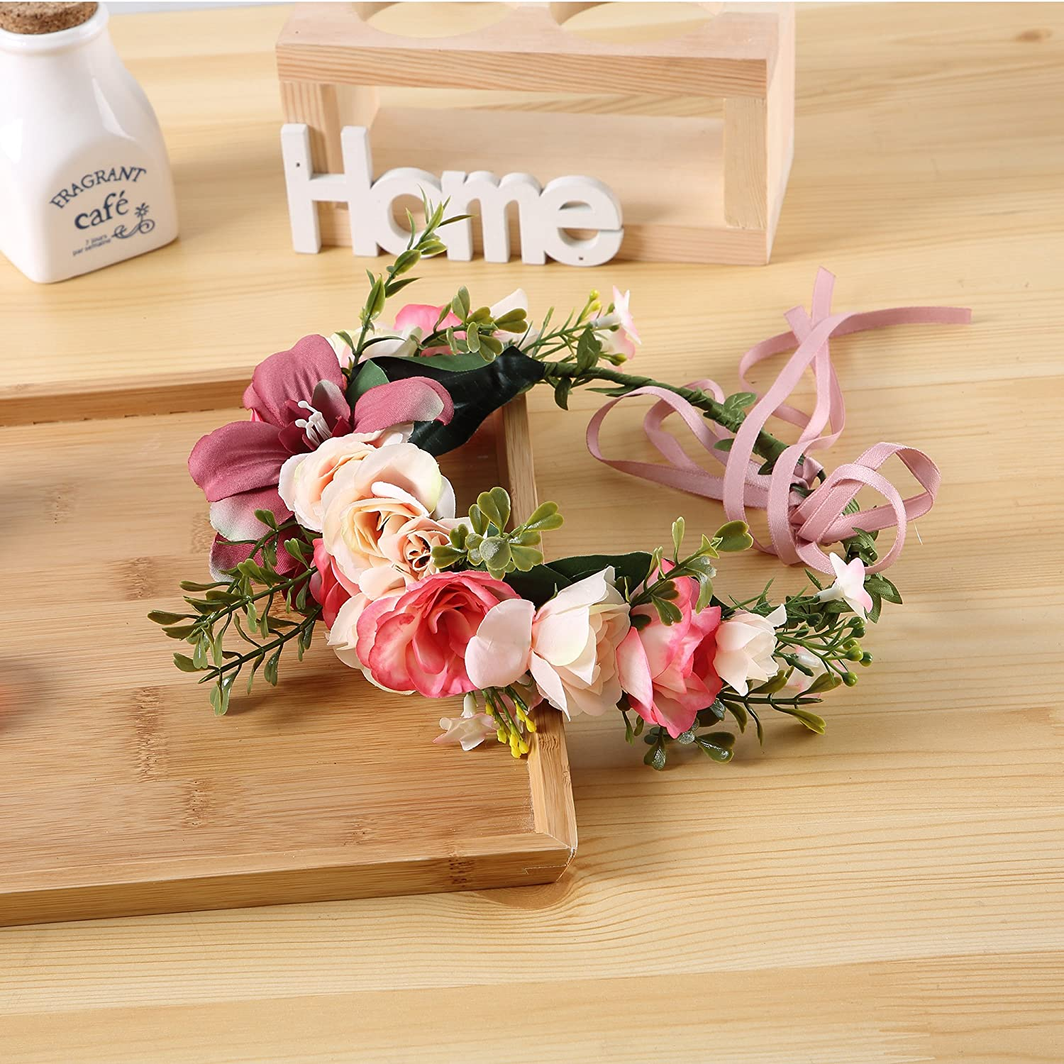 Amazon Felice Arts Women Flower Wreath Artificial Flowers Head