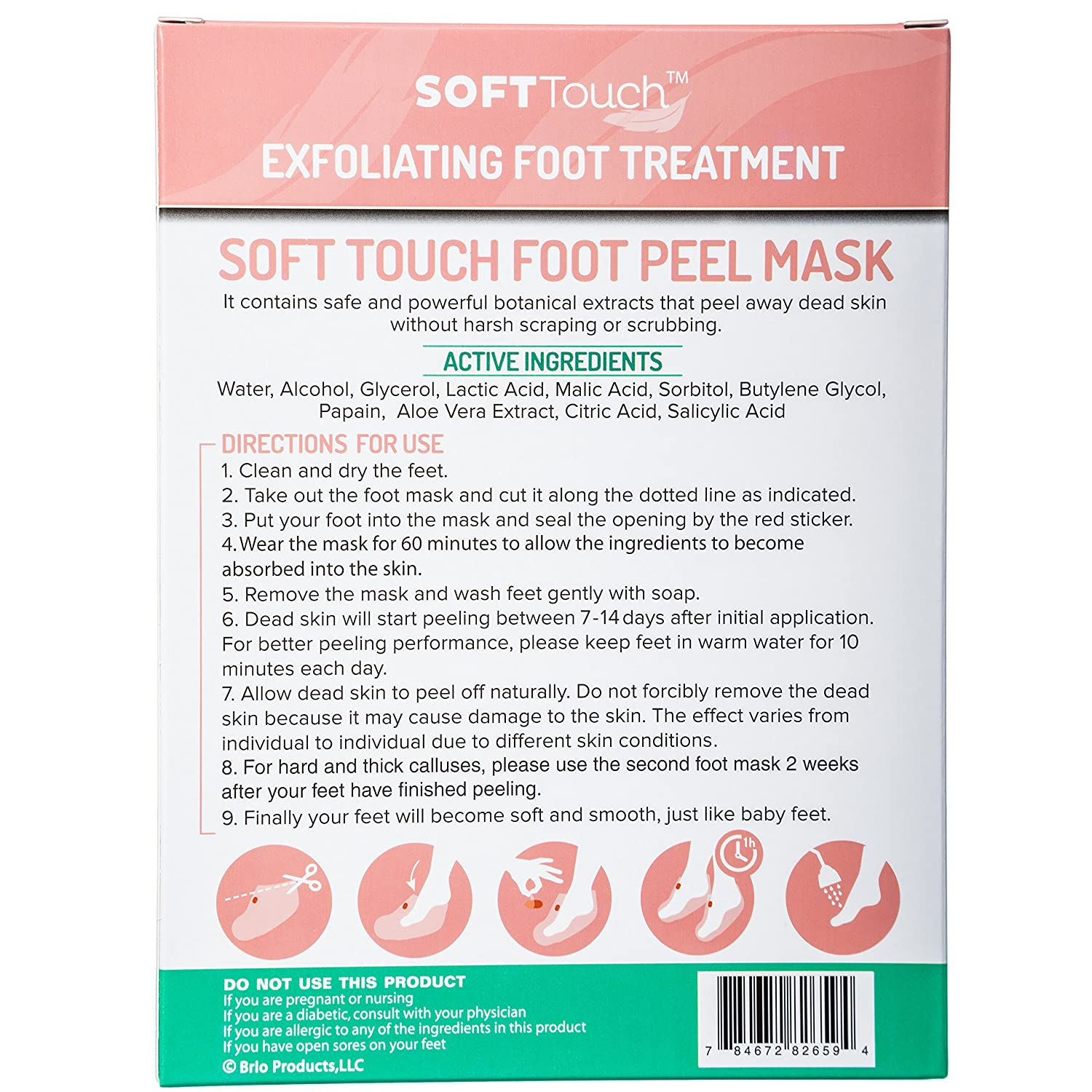 Soft Touch Foot Peel Mask Exfoliating Callus Remover 2 Velvy Goats Milk Shower Cream Green Tea And Aloe Vera 250ml Pairs Per Box Health Personal Care