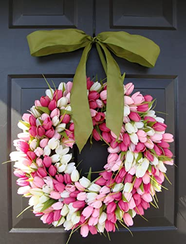 Everyday Floral Wreath Easter Wreath Pink Tulip Summer Wreath Door Decor Purple and Wine Tulip Wreath Mother/'s Day Gift Spring Wreath