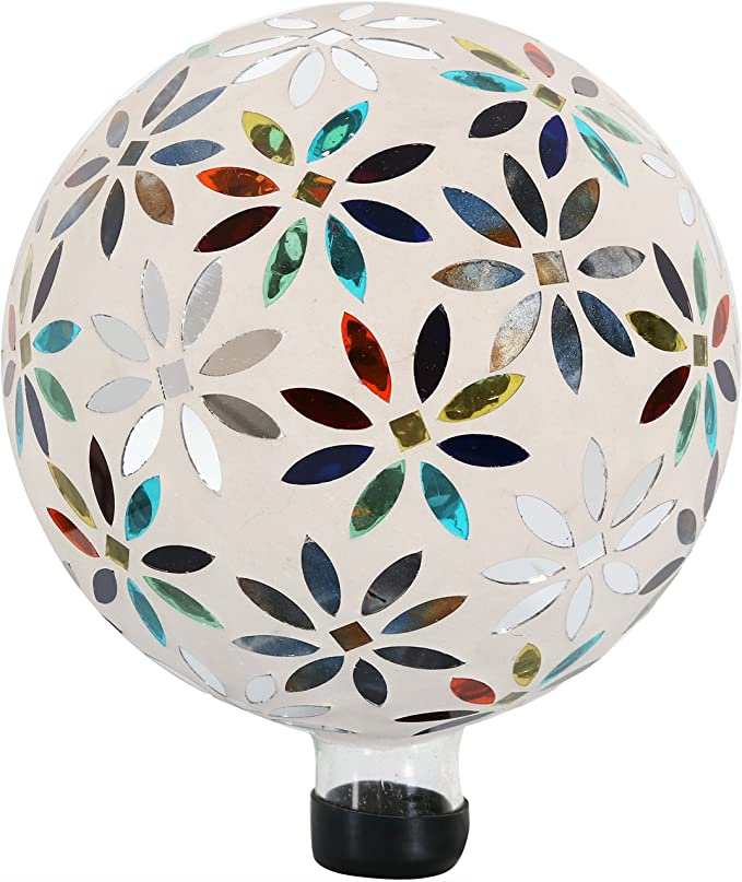 Sunnydaze Mosaic Flowers Gazing Globe Glass Garden Ball Outdoor Lawn And Yard Ornament Multi Colored 10 Inch Sunnydaze Decor Kitchen Dining