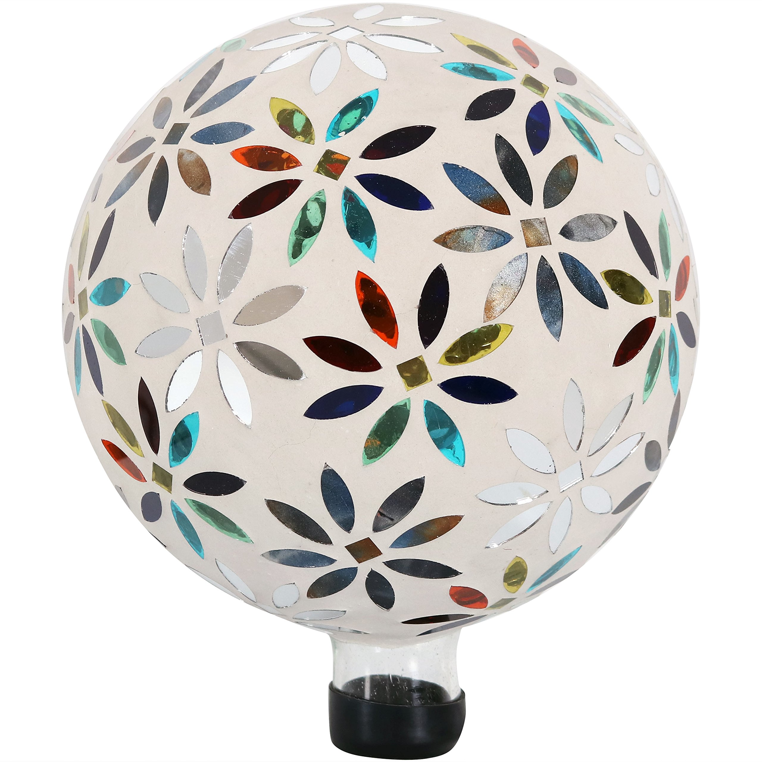 Sunnydaze Mosaic Flowers Gazing Globe Glass Garden Ball, Outdoor Lawn and Yard Ornament, Multi-Colored, 10-Inch