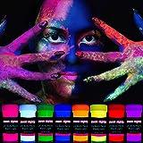 neon nights 8 x UV Body Paint Set | Black Light Glow Makeup Kit | Fluorescent Face Paints for Halloween Blacklight Bodypainti