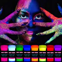 neon nights 8 x UV Body Paint Set | Black Light Glow Makeup Kit | Fluorescent Face Paints for Halloween Blacklight Bodypainting