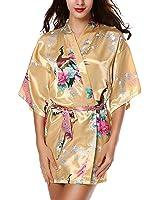 Avidlove Women's Robes Peacock and Blossoms Kimono Satin Nightwear Short Style