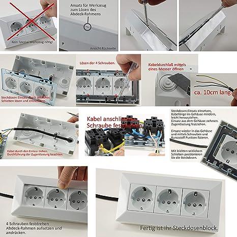 AP Steckdosenblock 180 Grad Eck für Küche Hobbyraum oder Werkstatt DE NEU