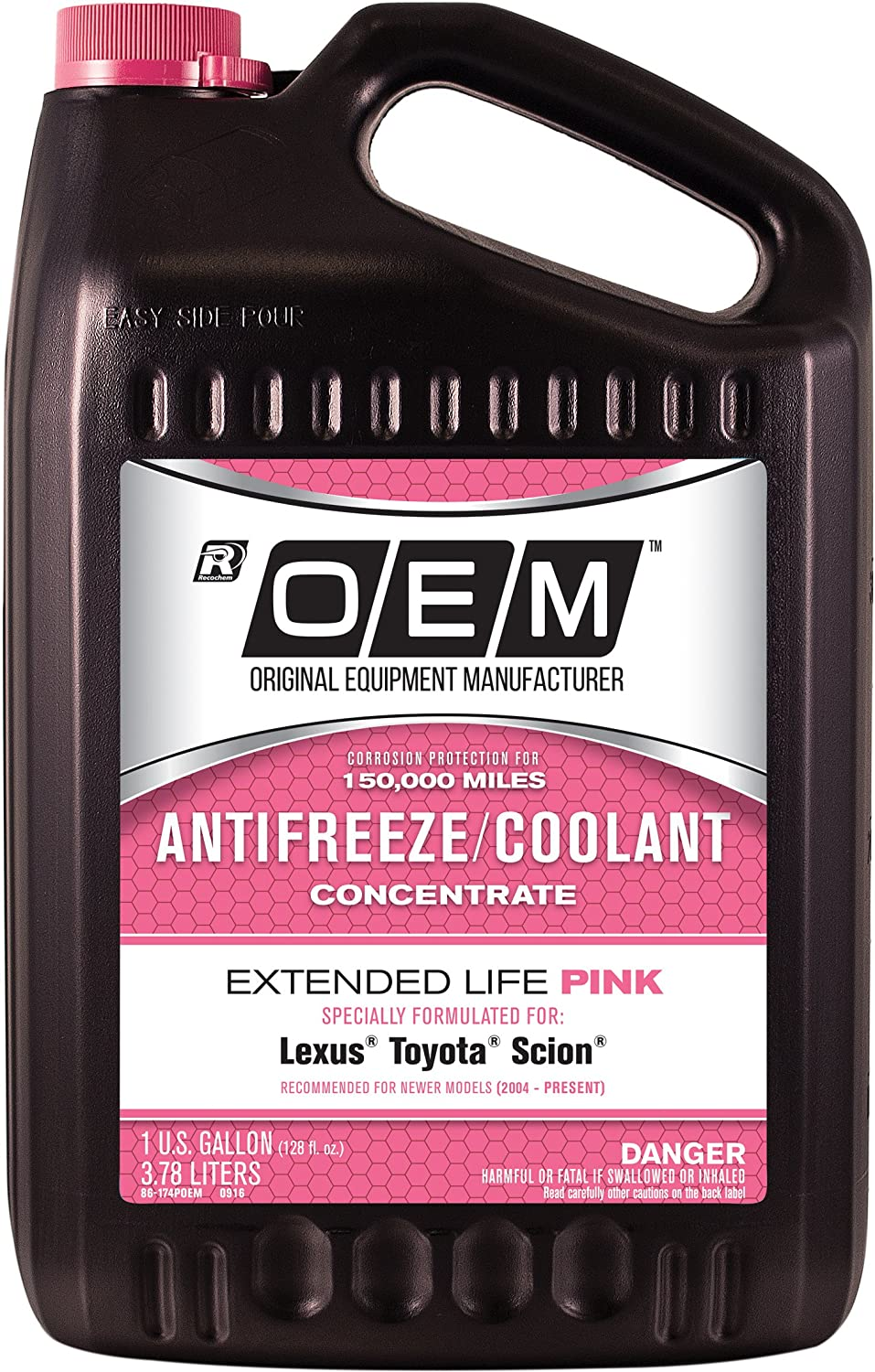 Oem Recochem 86 174poem Pink Premium Antifreeze Acura Engine Coolant Concentrate Extended Life 1 Gallon Pack Automotive
