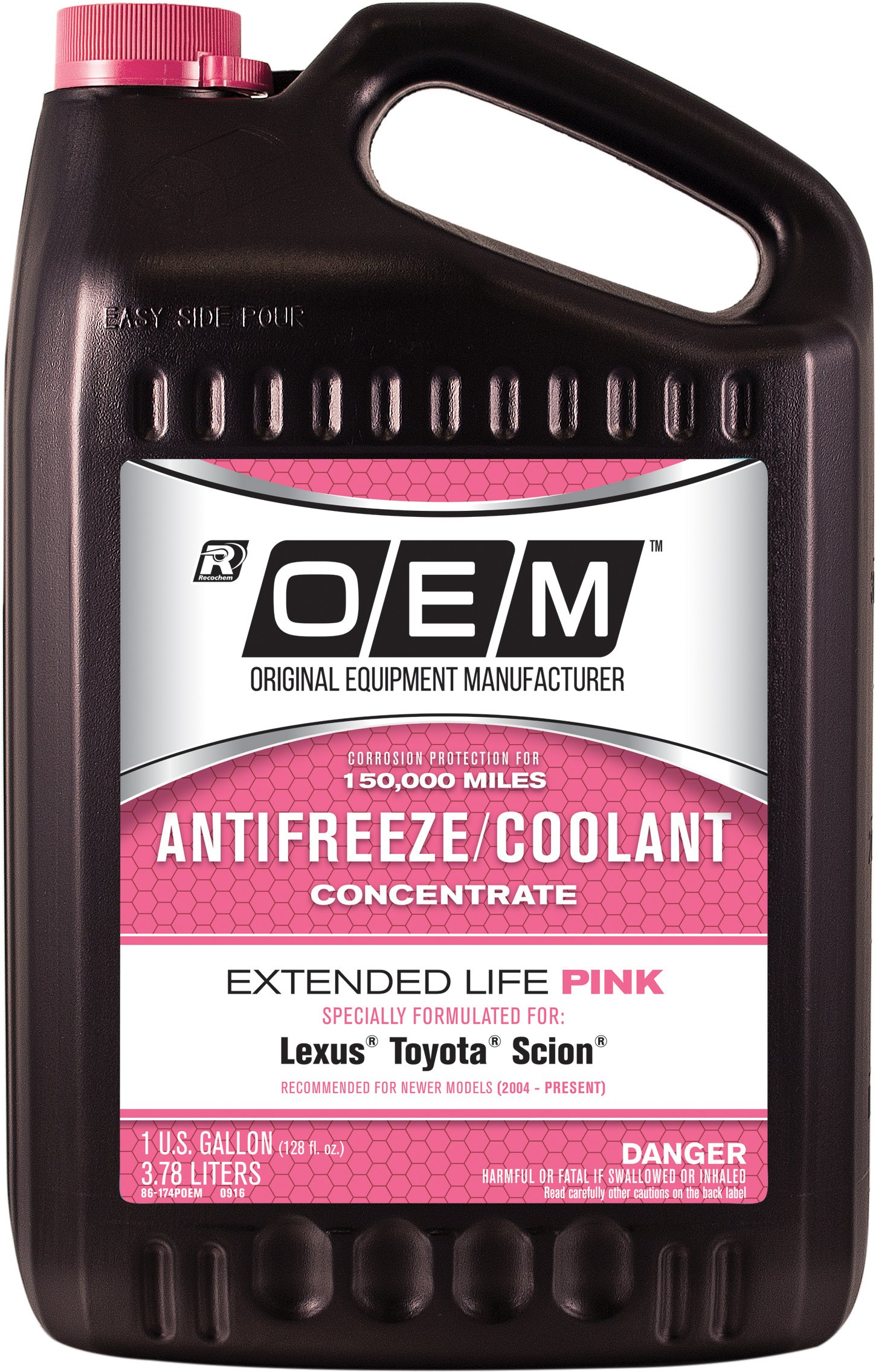 OEM Recochem 86-174POEM Pink Premium Antifreeze Concentrate Extended Life PINK, 1 gallon, 1 Pack