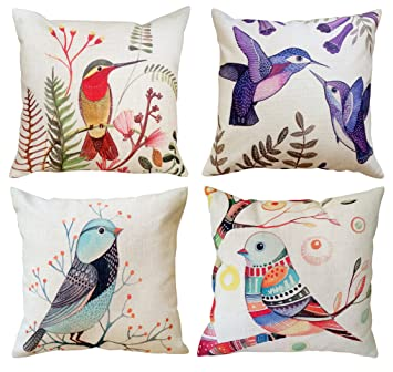 Set of 4 Decorative Cushion Covers Exotic Birds Painting Print