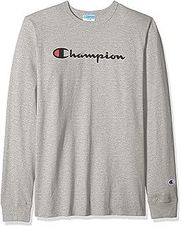 447c9162 Amazon.com: Champion Men's Classic Jersey Long Sleeve Script T-Shirt ...