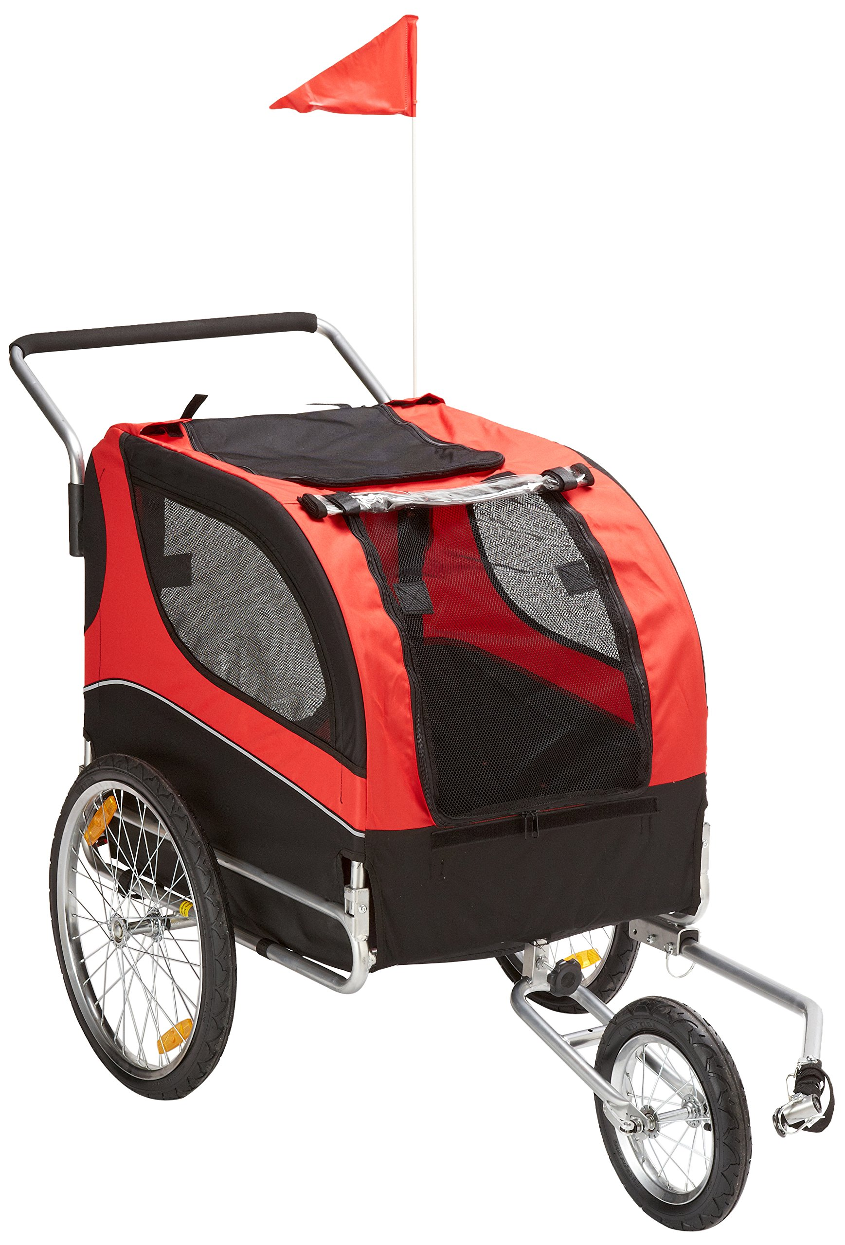 MDOG2 MK0291 Comfy Pet Bike Trailer/Jogging Stroller, Red/Black