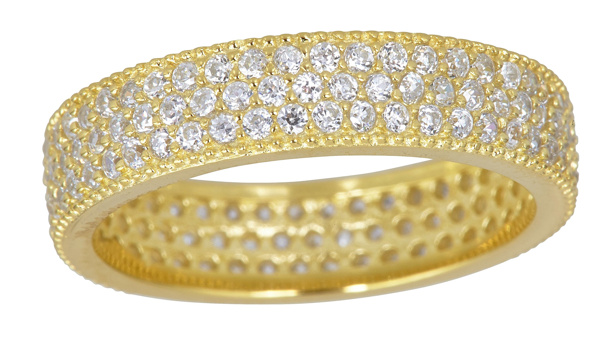 Sterling Silver Yellow Cubic Zirconia 3 Row Pave Eternity Band Ring