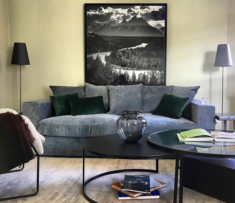 Amaris Elements | 'Cooper' 3 Sitzer Sofa inklusive 5 Kissen 226x106xH65cm | Samt Couch blau grau