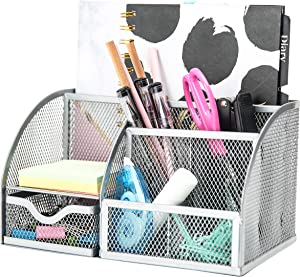 Exerz Mesh Desk Organizer Office with 7 Compartments + Drawer/Desk Tidy Candy/Pen Holder/Multifunctional Organizer EX348 Silver