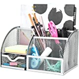 Exerz Mesh Desk Organizer Office with 7 Compartments + Drawer/Desk Tidy Candy/Pen Holder/Multifunctional Organizer EX348 Silv