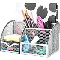 Exerz EX348 Mesh Desk Organiser/Desk Tidy/Pen Holder/Multifunctional Organizer - Silver