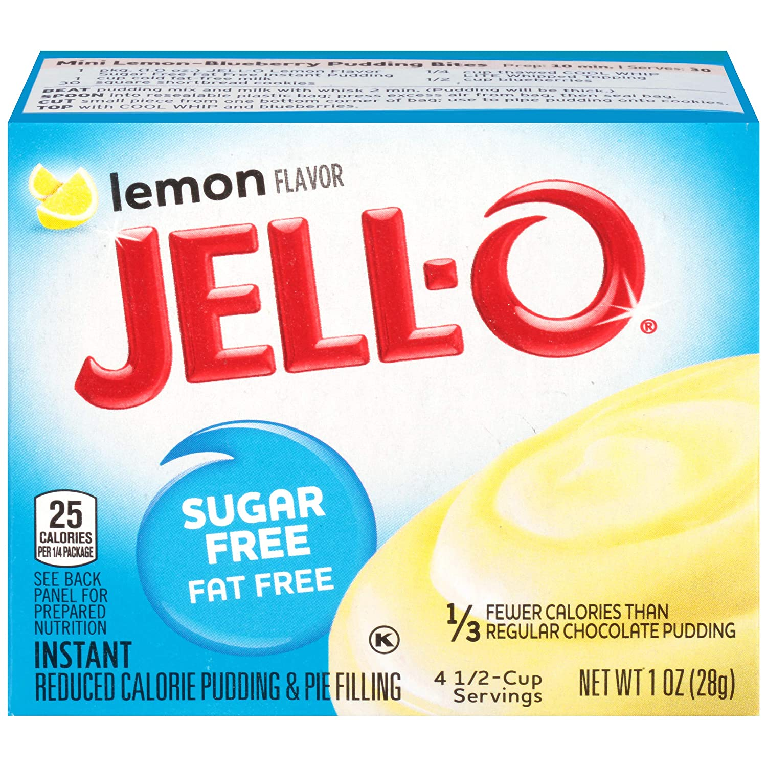 Jell-O Instant Lemon Sugar-Free Fat Free Pudding & Pie Filling (1 oz Boxes, Pack of 6)