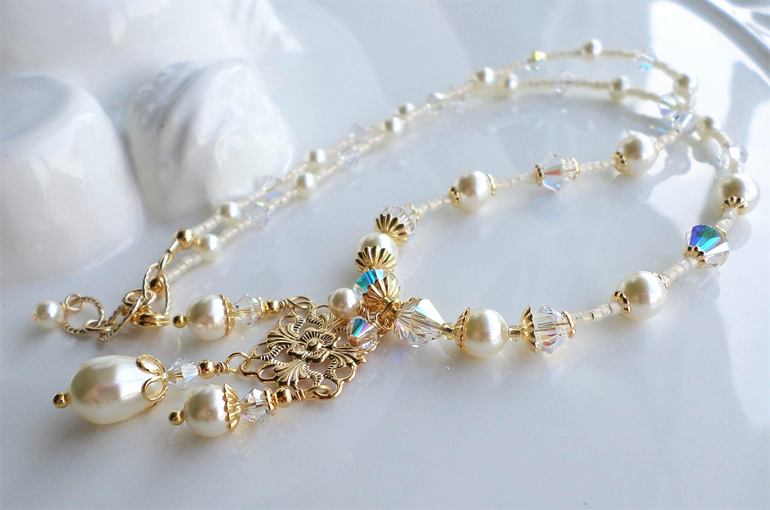 Cream Swarovski Pearl Crystal Bridal Wedding Necklace