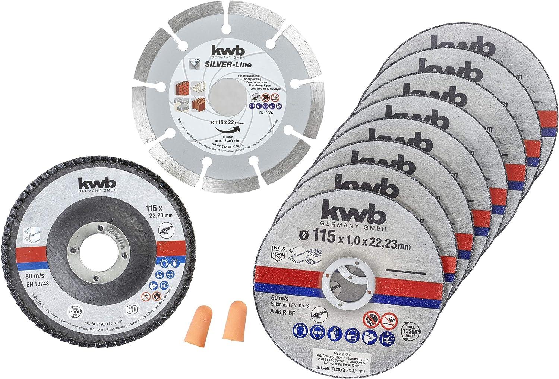 kwb 712041 Disco de corte de diamante fino para amoladora angular 115 mm disco flexible para acero inoxidable en caja de almacenamiento incluye tapones y disco abrasivo ABM. 115 x 1,0 x 22,23