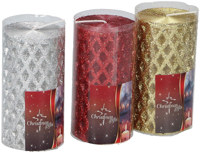 871125201056 Edco Candele di Natale Rosso-Oro-Argento