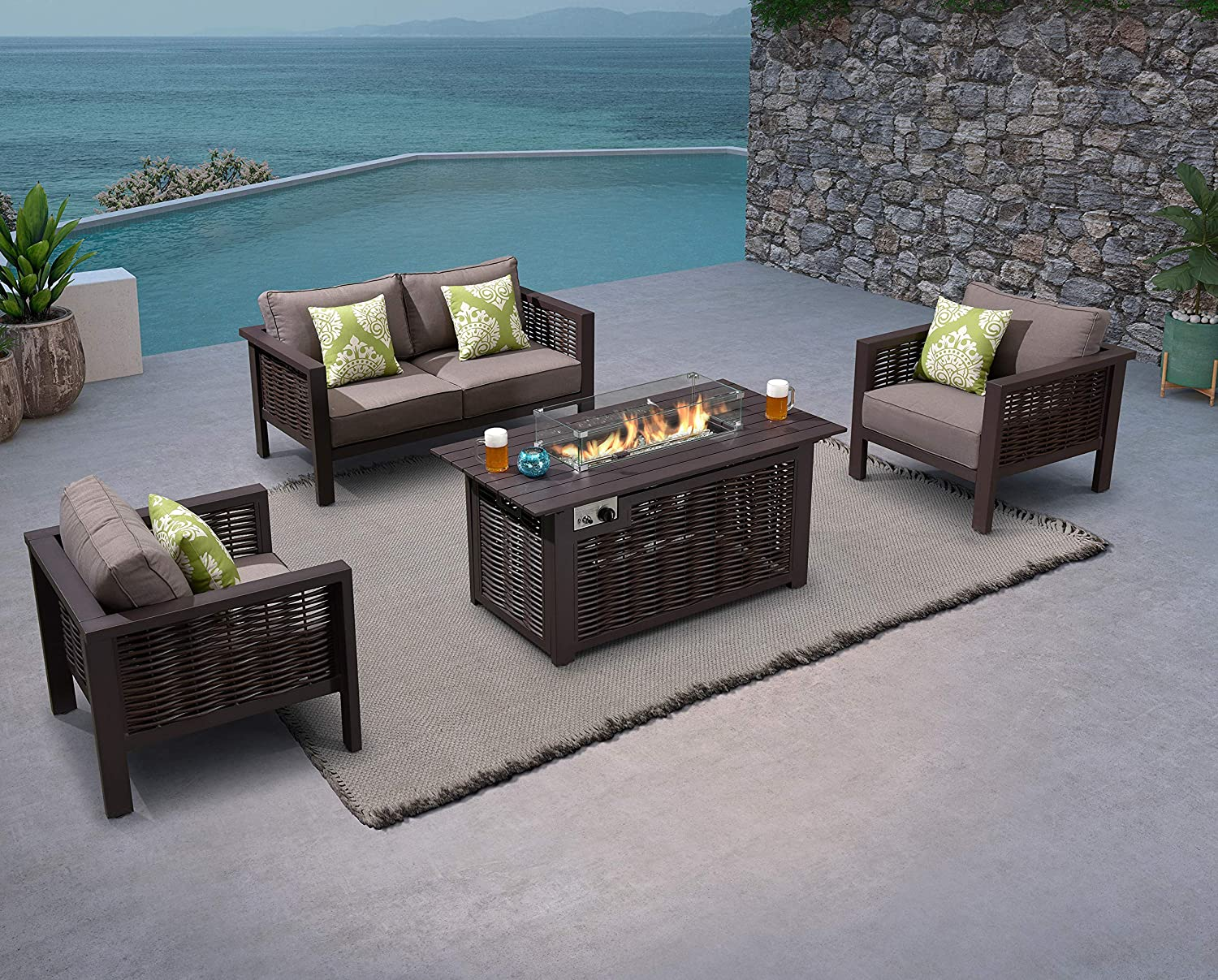 PURPLE LEAF 4 Pieces Patio Fire Pit Conversation Set, All-Weather Handcrafted Outdoor Wicker Rattan Sofa Set for Garden Backyard Deck Pool, Patio Furniture Set with Fire Pit Table