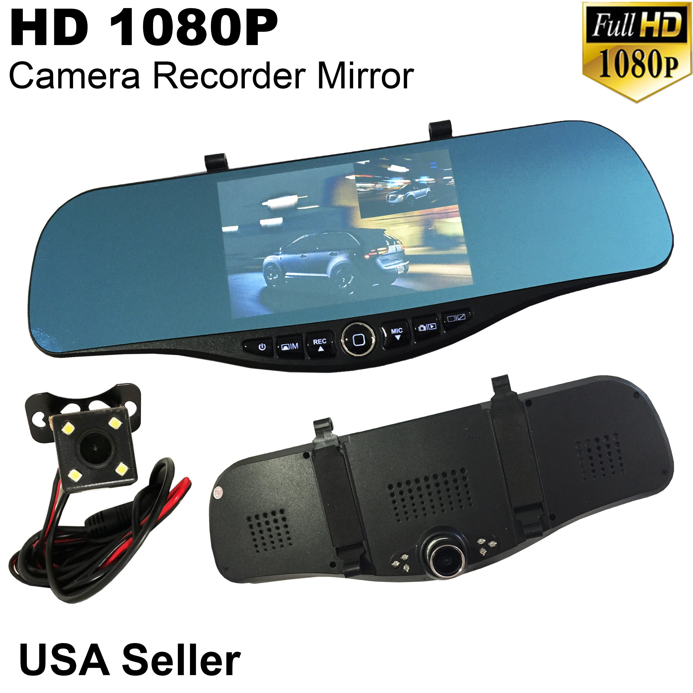 Universal 5'' Monitor 1080P Full HD Blue Tint Car Front/Backup Rear Camera Video Recorder Rearview DVR Cam Inside Mirror
