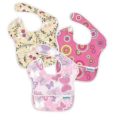Hippychick Bumkins Super - Pack de 3 baberos para niñas, diseño Pink Circles, Butterflies