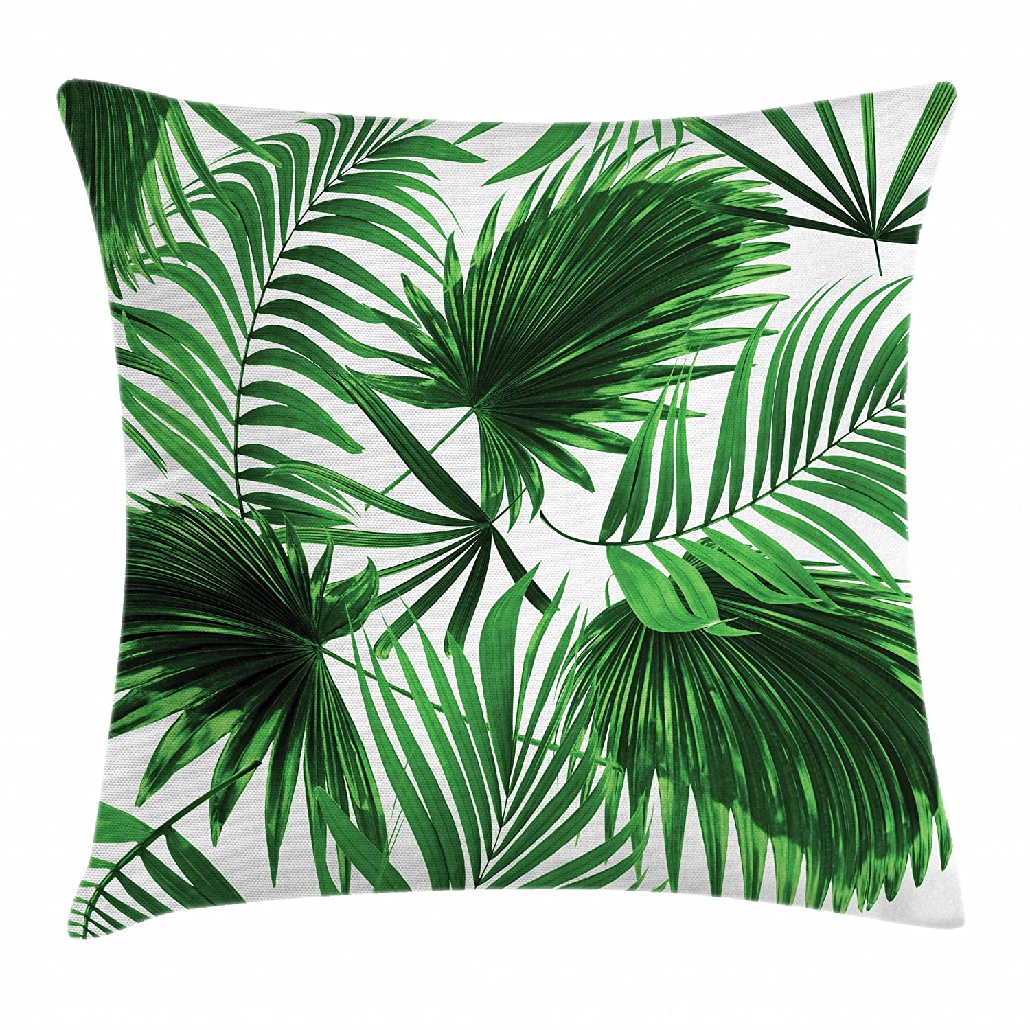 Stupendous Ambesonne Palm Leaf Throw Pillow Cushion Cover Realistic Vivid Leaves Of Palm Tree Growth Ecology Lush Botany Themed Print Decorative Square Accent Ocoug Best Dining Table And Chair Ideas Images Ocougorg