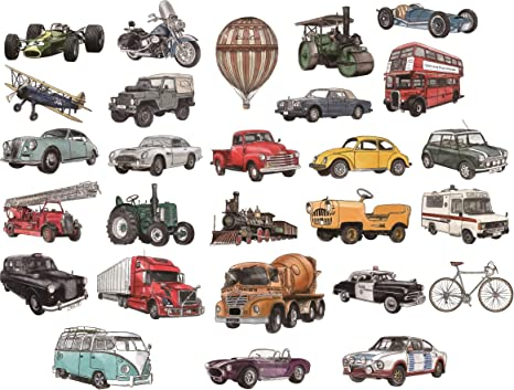 Kath and Cath Vintage Cars Transports Kids Wall Stickers Wall Decals Peel and Stick Removable Wall Stickers for Kids Nursery Bedroom Living Room