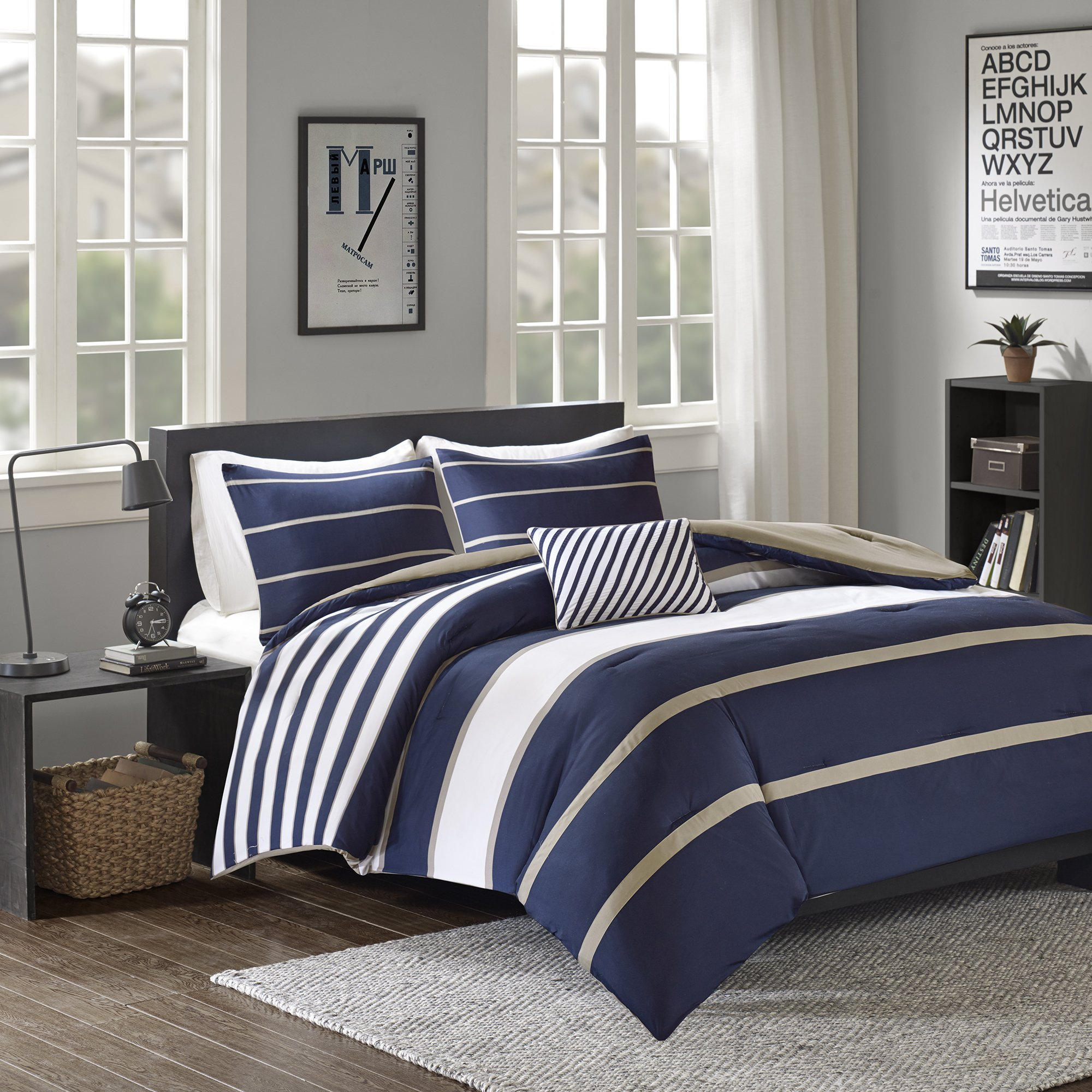 Comfort Spaces - Verone Comforter Set - 3 Piece - White, Navy, Khaki - Stripes - Perfect For College Dormitory, Guest Room - Twin/Twin XL Size, includes 1 Comforter, 1 Sham, 1 Decorative Pillow