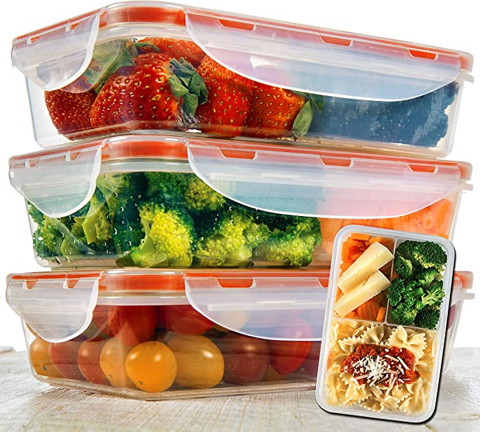 Bento Lunch Box 3pcs set 24oz - Meal Prep Containers Microwavable - BPA Free - External Leak Proof - Portion Control Containers - Food Prep Containers Dishwasher Friendly - Snap Locking Lid