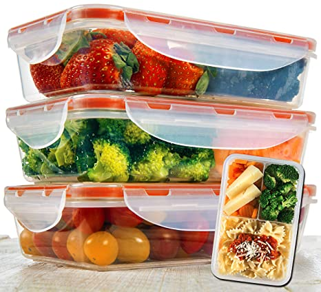 808fca8b0e93 Bento Lunch Box 3pcs set 24oz - Meal Prep Containers Microwavable - BPA  Free - External Leak Proof - Portion Control Containers - Food Prep  Containers ...