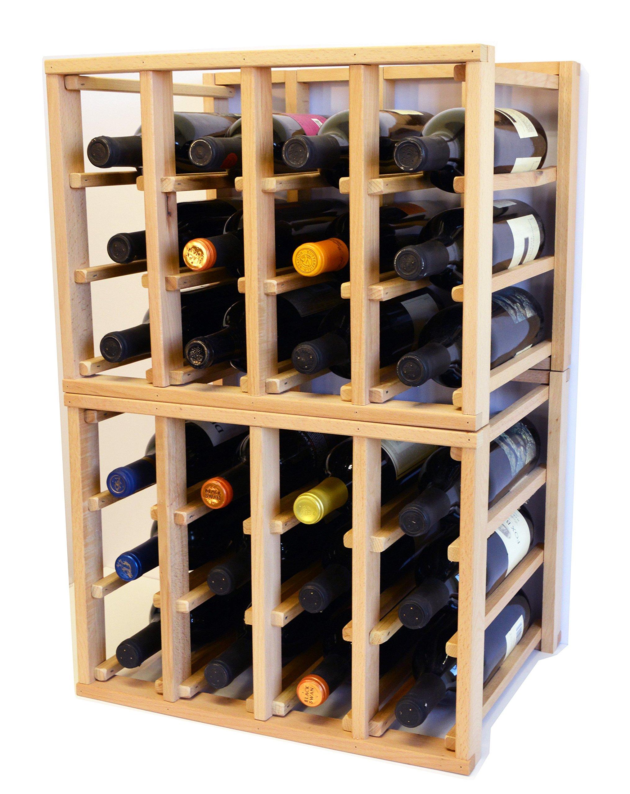 24 Bottle Modular Stackable Wine Rack Stack As Many Sets Together (5 Sets = 120 Bottle Capacity)