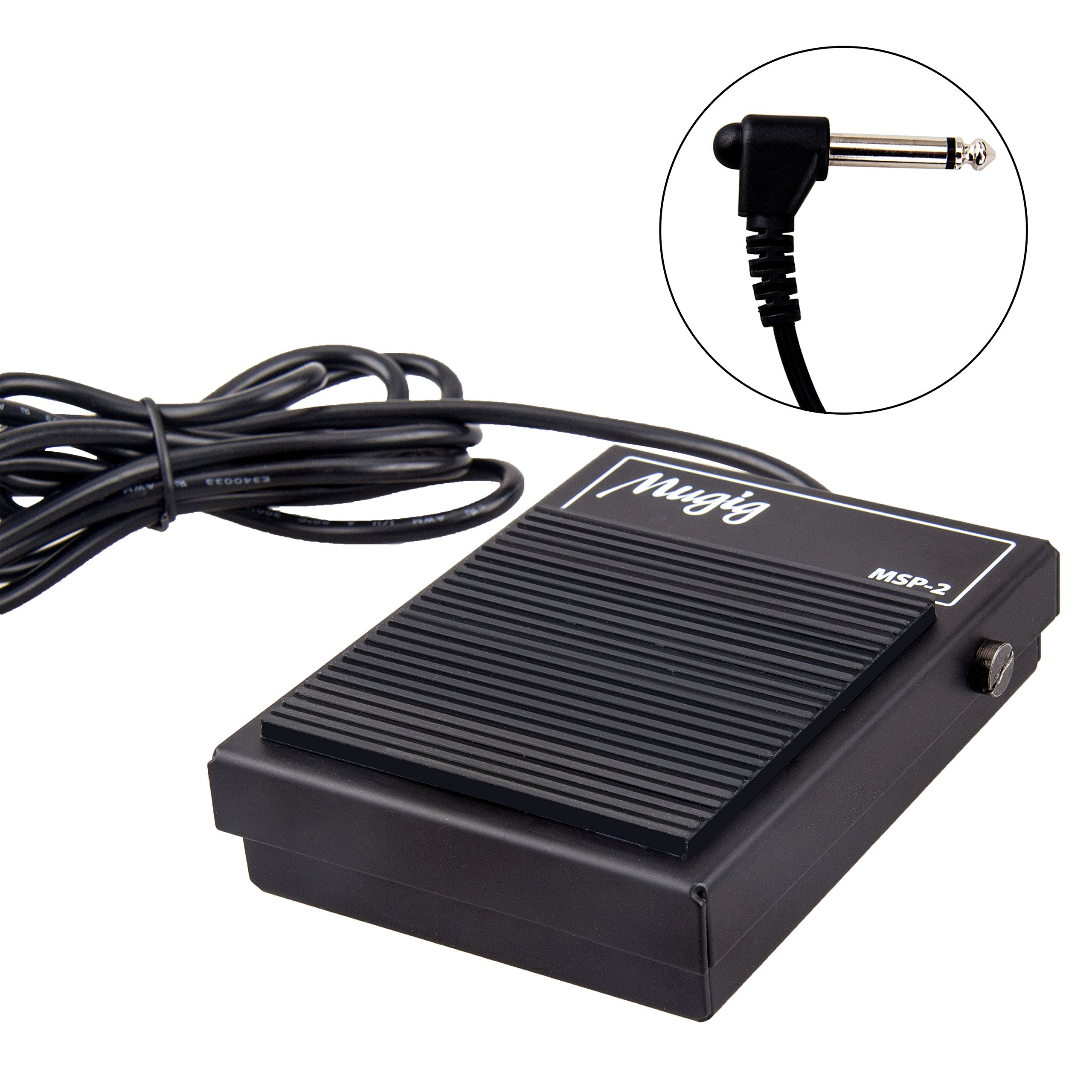 Mugig Sustain Pedal with Polarity Switcher Full Metal Structure for Synthesizer, Electronic Organ, Drums and Piano