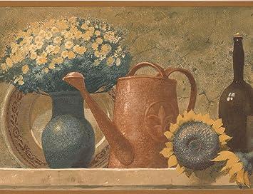 Fruit Basket Bouquet Wine Bottles On Mantel Kitchen Vintage Wallpaper Border Retro Design Roll 15 X 9 Amazon Com