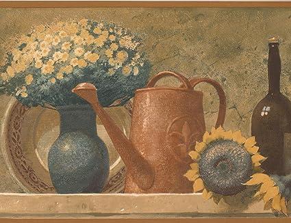 Norwall Canastilla Bouquet vino de fruta botellas en la chimenea cocina Vintage Wallpaper frontera diseño Retro