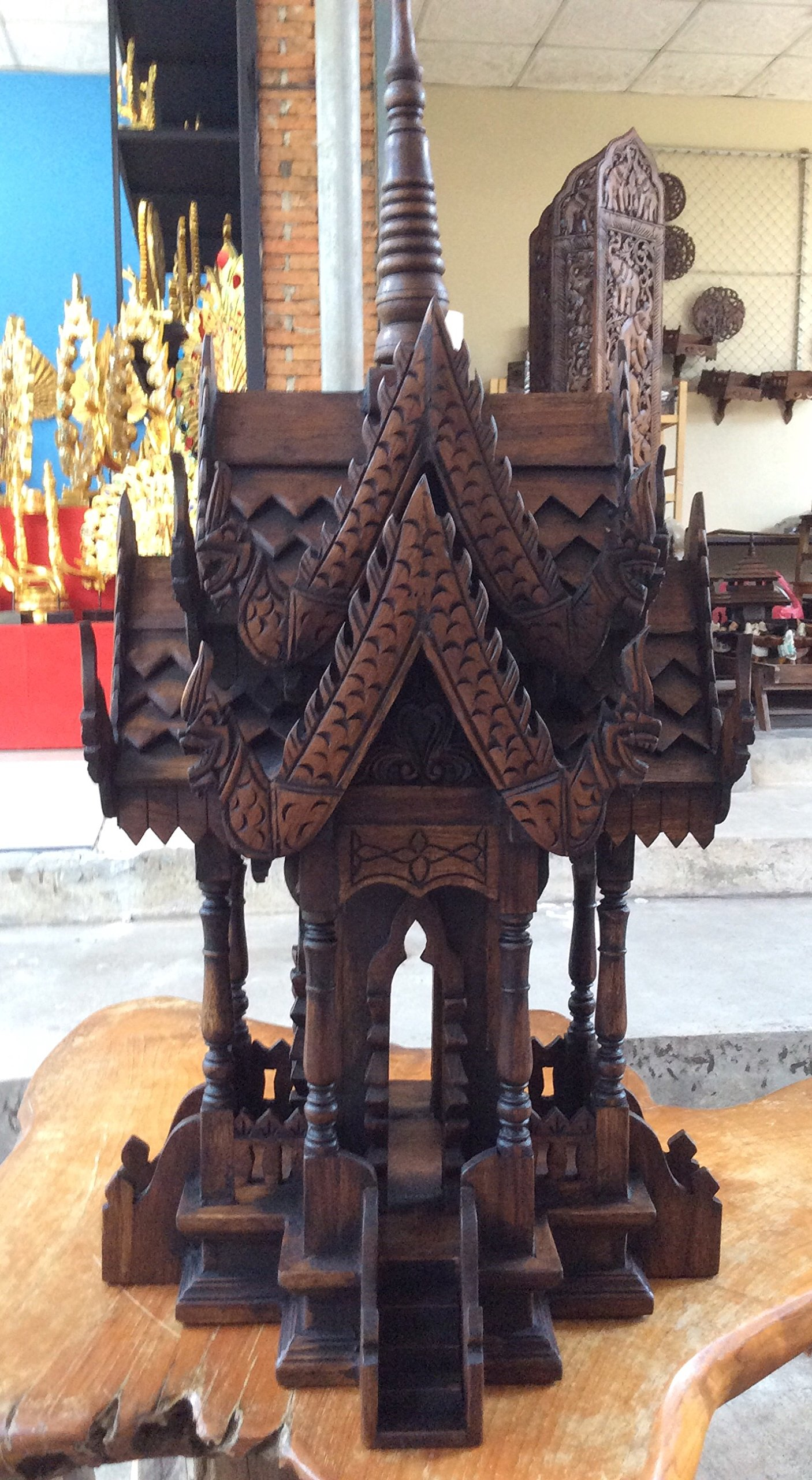 Spirit House, Traditional Thai ,Made From Teak Woodthe Temple Has Two Roofs, Inc.. 15 by Thank You Chiangmai.