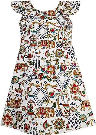 c44c89b0081 Sunny Fashion Robe Fille Traditionnel Main Dessin Imprimer Éléphant Arbre  10 Ans