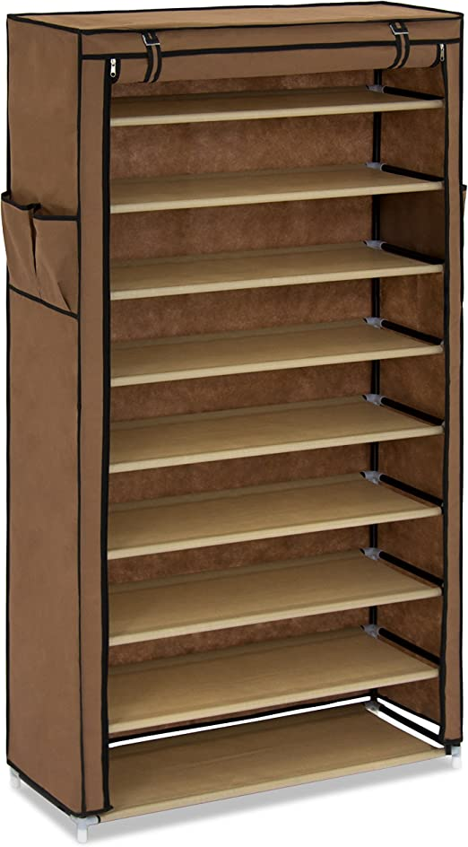 10 Tier Shoe Rack Storage Organizer Towers Free Standing Space Saving with Cover
