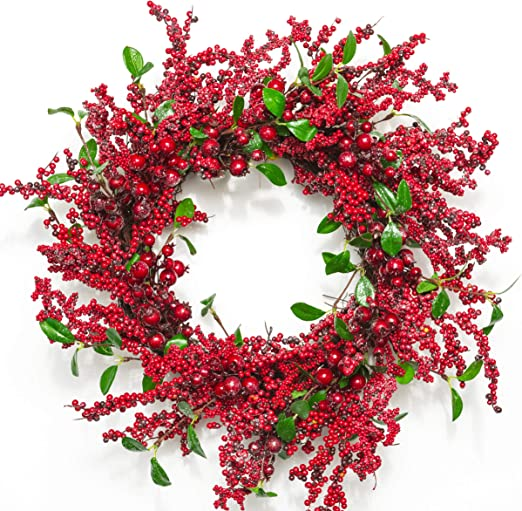 Amazon Com Huashen Iced Red Berry Long Winter Wreath With Green