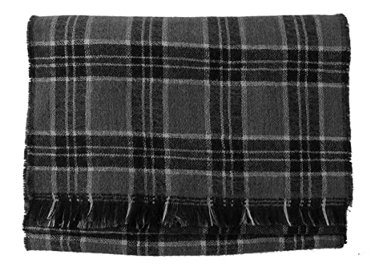 1b173fcbc00b Écharpe webschal Double face tendance à carreaux noir gris 100% coton  (Mérinos)