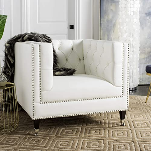 Safavieh Couture Collection Miller White Birch Legs Accent Chair